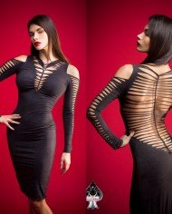 ca dechire – elegant backless dress aya black – cut out and braided